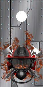 Firefighter helmet Cornhole board game decal wraps