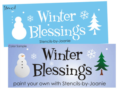 Country STENCIL Winter Blessings Frosty Snowman Pine Tree Prim Cabin Rustic Sign