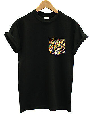 LEOPARD PRINT HAND STITCHED POCKET T SHIRT TOP INDIE SWAG DOPE INCT BLACK WHITE