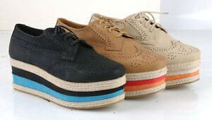 New-Womens-Perforated-Stacked-Platform-Flat-Wedge-Lace-Up-Oxford-Journey-02-6-10