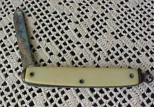 Vintage-Knife-HIT-1-Blade-USA-Ivory-Color-Loop-for-Chain-Made-in-the-USA
