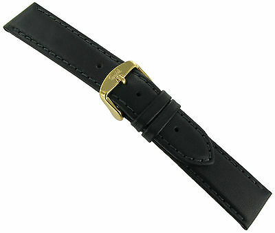 18mm Speidel Hand Stitched Cowhide Leather Black Men's Watch Band Strap Regular