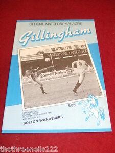 PROGRAMME-D3-GILLINGHAM-V-BOLTON-WANDERERS-AUG-31-1985