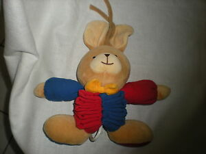 IKEA TAN BLUE RED YELLOW BOW MUSICAL CRIB BABY TOY PLUSH BUNNY RABBIT LOVEY