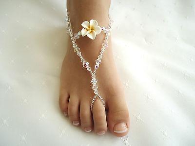 KIDS ~ Barefoot Sandals ~ Beach-Wedding Crystal Glass Beads ~  ( Frangipani )