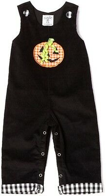 Mud Pie Baby Boys Trick Treat Halloween Black Cords Overalls Pumpkin 350007 New