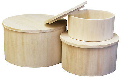 Craft Wood/Craftwood Round Food Containers - for Decorating/Hobbies/Painting!!!
