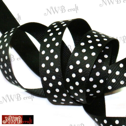 "High Quality 5//8/"" various colours 15mm-16mm Grosgrain Polka Dot Ribbon"