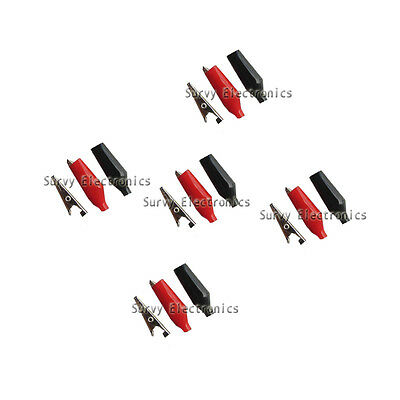 5 Pair red and black 28mm PVC Insulated Crocodile Test Clip Total 10pcs