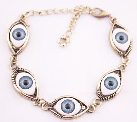 New Gothic/Punk Vintage Style Bronze Plated Metal 5 Evil Eyes Cuff Bracelet