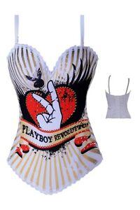 White-Playboy-Bunny-Revolution-Corset-Top-Aussie-Seller