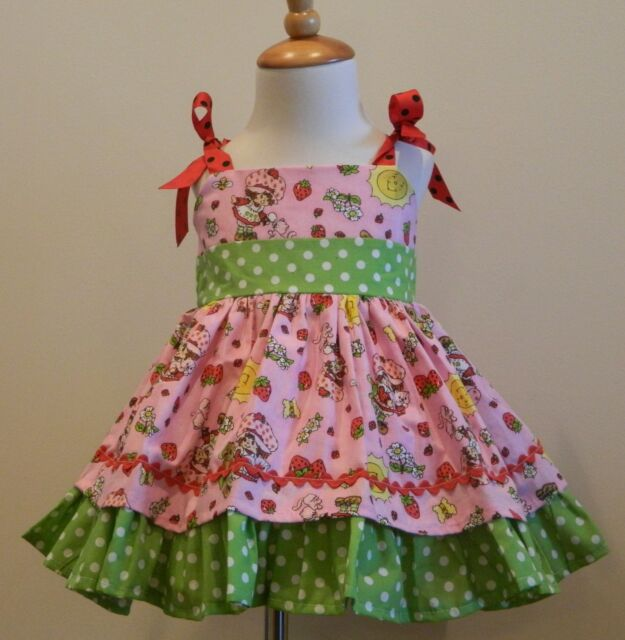 HANDMADE GIRLS  STRAWBERRY SHORTCAKE JUMPER DRESS SIZES FROM 12M TO6Y