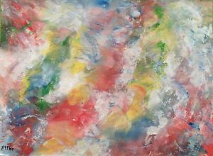 Peinture-acrylique-toile-tableau-Eclosion-4A-abstrait-Original-signe-ss-chassis