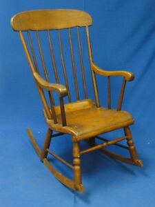 Details about ANTIQUE RUSTIC BOSTON ROCKING ROCKER CHAIR * RARE FIND