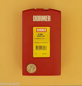DORMER-METRIC-DRILL-SET-HSS-STEAM-TEMPERED-25Pce-1-0mm-13-0mm-x-0-5mm-A190-204