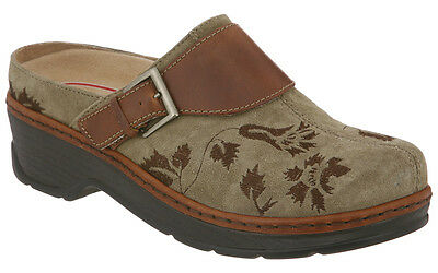 Klogs USA Women's Austin Open Back Slip-On Clogs Taupe Suede Tapestry Size 8.5