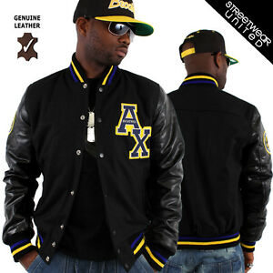 Aviatrix College Baseball Half Leather & Wool Jacket Black | eBay
