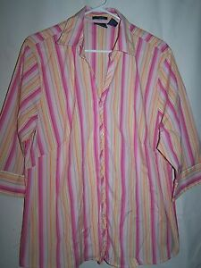 Womens-DCC-Pink-Orange-Tan-Striped-Button-Down-Shirt-Size-1X