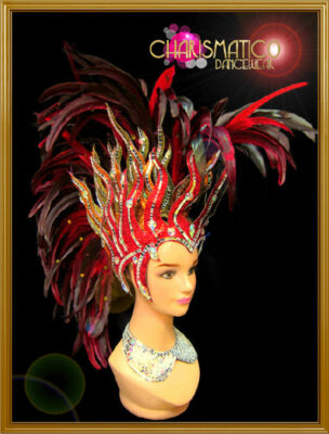 Charismatico Red and Gold Fire inspired Mohawk Styled Red Feather Headdress