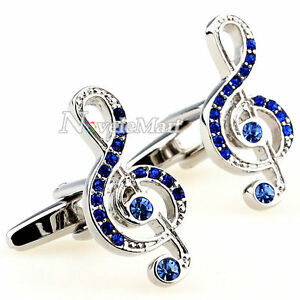 Silver-Music-Note-with-Blue-Inlaid-Crystals-Cufflinks-Shirt-Suit-Cuff-Links