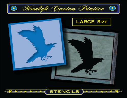 Crow Stencil~Primitive~CROW 1002~Black Crow Flying Raven Black Bird In Flight