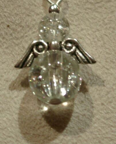 SCHUTZENGEL Engel Charm aus Glasperlen Öse Karabinerhaken oder Handyanhänger