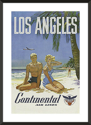 Vintage LOS ANGELES CONTINENTAL AIR LINES TRAVEL POSTER Print Not Framed 18x24