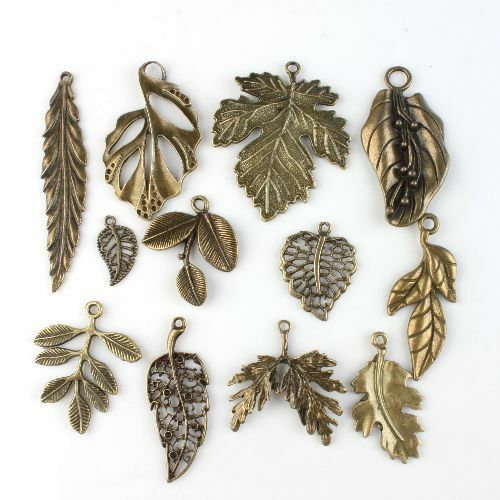 24pcs 142740 Assorted Vintage Bronze Leaves Charms Alloy Pendants Findings Lots