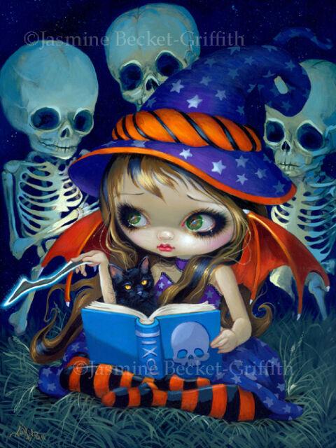 Jasmine Becket-Griffith art print SIGNED Skeleton Magic witchcraft halloween cat