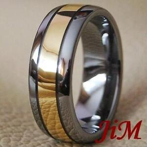 Tungsten Ring 18k Gold Mens Wedding Band Bridal Titanium