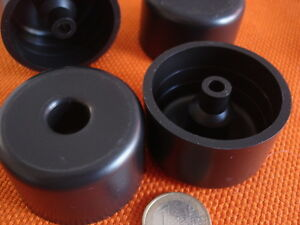 4-x-Sesselerhoehung-Moebelfuss-Sockelfuesse-Kunststoff-schwarz-rund-50d-x-30mm-hoch