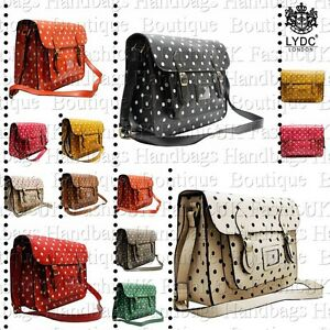 LYDC-Ladies-Polka-Dot-Saddle-Messenger-Bag-Cross-Body-Satchel-Shoulder-Bag