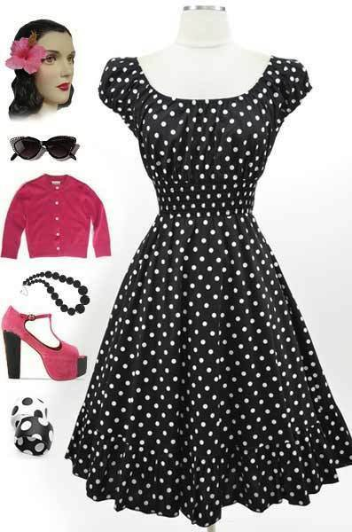 50s Style Black & White POLKA Dots PINUP Peasant Top On/Off The Shoulder Dress
