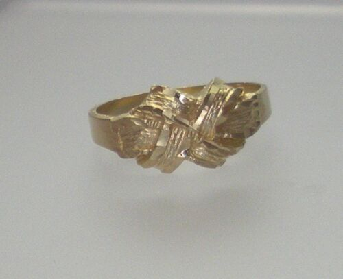 Eye-Catching D/C 14K Yellow Gold Criss-Cross Over Ring Size 6 *FREE SHIPPING*