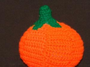 HANDMADE CROCHET FOLKART KNIT PUMPKIN PLUSH STUFFED ANIMAL DECORATION HALLOWEEN