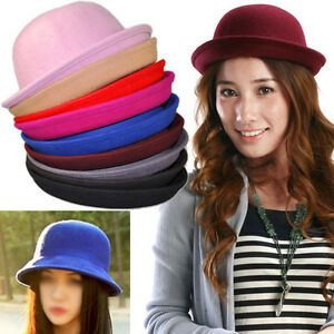 NEW-WOOL-Vintage-Brand-women-039-s-Cap-cute-trendy-Bowler-Derby-Hat-Men-039-s-Cloche-HAT
