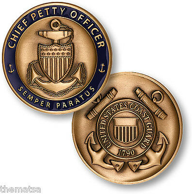 """COAST GUARD CHIEF PETTY OFFICER CPO 1.75""""  CHALLENGE COIN"""
