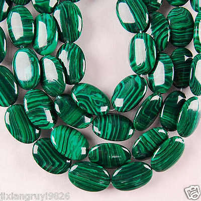 "13X18MM Green Malachite Oval Loose Bead 15"""