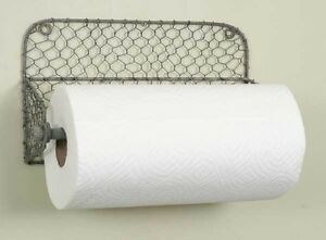 Unique Hand Crafted Primitive Chicken Wire Paper Towel Wall Holder Rustic Grey