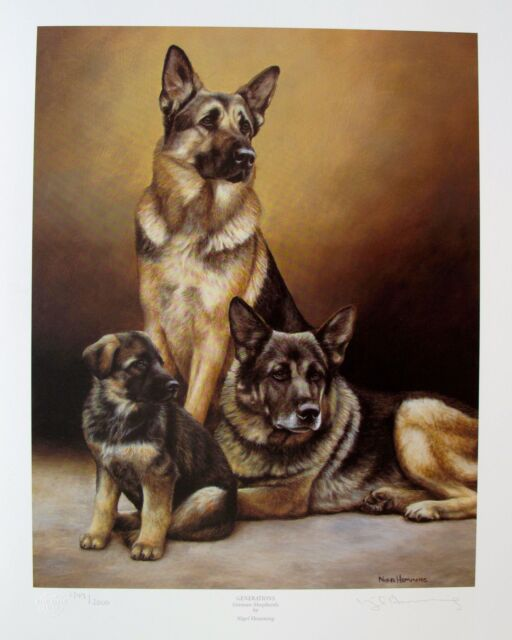 NIGEL HEMMING GERMAN SHEPHERD DOGS Hand Signed Ltd Edition Lithograph