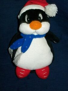 "8.5"" stuffed GEO-PALS beanbag plush WINTER PENGUIN w/Santa Hat & Scarf"