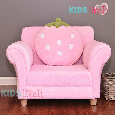 GIRLS Wooden PINK Fleece STRAWBERRY SOFA COUCH w/ CUSHION *New* KIDS CHAIR GIFT