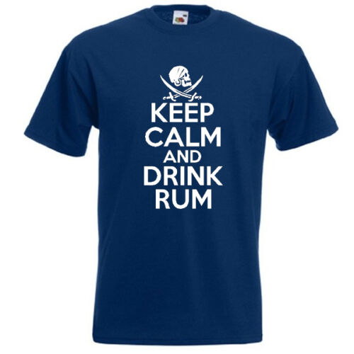 KEEP CALM AND DRINK RUM Mens Unisex Funny jack sparrow Pirate T Shirt Top Tee