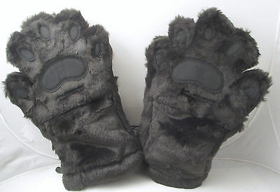 MENS Large Furry PAW Mittens Brown bears HAND USE cubs driving gloves THINSULATE
