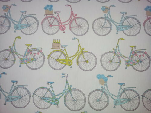 Ashley Wilde Totnes Teal Bicycle Designer Curtain Upholstery Fabric