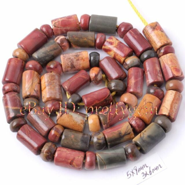 3X5MM RONDELLE SHAPE 5X9MM COLUMN PICASSO JASPER GEMSTONE LOOSE BEADS STRAND 15""