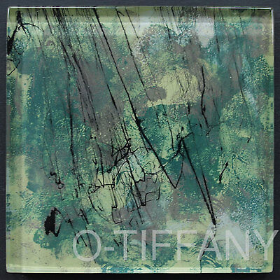 """Lot of 9 Hand Painted Brush Stroke Art Glass Tile 4"""" x 4"""" - O-Tiffany Exclusive"""