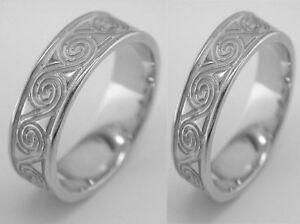 10k White Gold Irish Classic Celtic Design Wedding Band Irish Ring Set