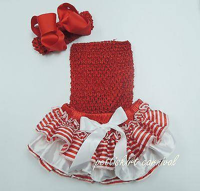 Xmas Newborn Baby Red White Stick Ruffles Bloomers Top Red Bow Headband 3pc 0-24