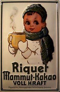 Riquet-Joven-Mammut-Cacao-Letrero-De-Metal-3d-EN-RELIEVE-CARTEL-LATA-20-x-30